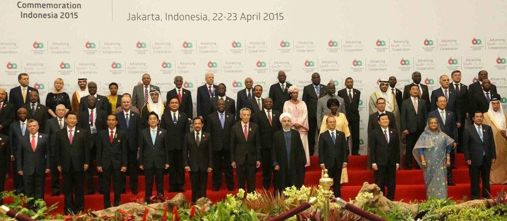 President U Thein Sein poses for documentary photo together with leaders of Asia and Africa at the opening ceremony of Asian-African Conference Commemoration Indonesia 2015 in Jakarta.