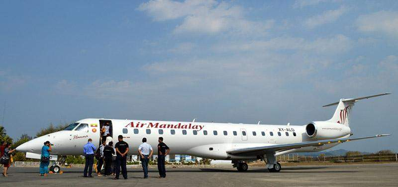 Air Mandalay shows off new Embraer fleet to press with a special flight to Ngapali on  Friday.