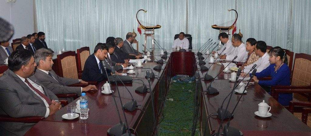 U Wunna Maung Lwin, Union Minister for Foreign Affairs, holds talks with Pakistani military delegation led by Brigadier Muhammad Aneeq Ur Rehman Malik.