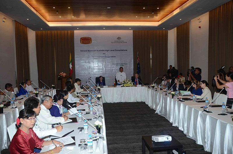 Second Myanmar-Australia high level consultation on development cooperation in progress in Nay Pyi Taw.—MNA
