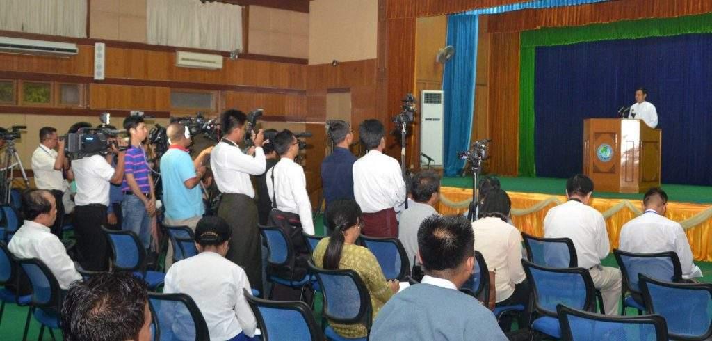 Union Minister for Information U Ye Htut meets media in clarification on talks between the President and national race and political leaders.