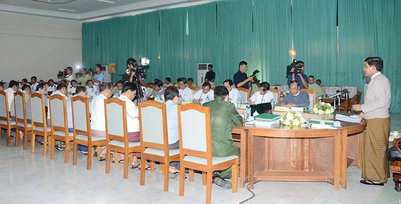 Vice President U Nyan Tun highlights reform process of land resources management system.