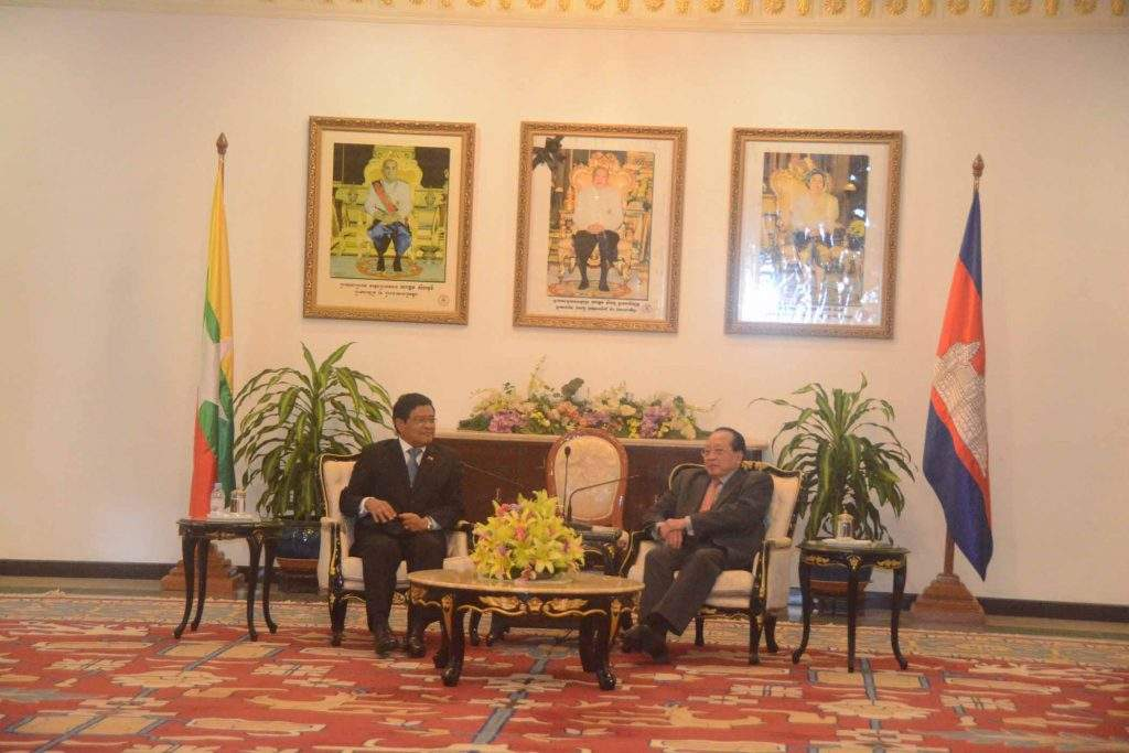 Vice President  U Nyan Tun holds talks with Deputy Prime Minister and Minister for Foreign Affairs and International Cooperation Hor Namhong of Cambodia.