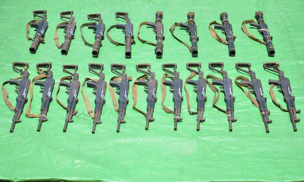 Photo shows arms seized by Tatmadaw from AA insurgent group.
