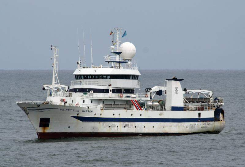 Norwegian marine research vessel RV Dr Fridtjof Nansen, pictured,  embarked on a 55-day fishery survey in Myanmar's waters on 28 April.