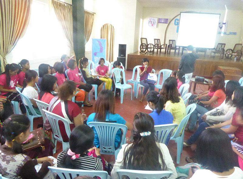 Girls and young women actively participate in an event to mark the Girls in ICT Day in Yangon.