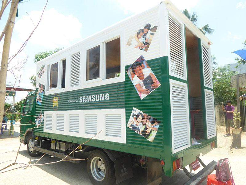 A mobile education bus that is equipped with Samsung tablets and television donated by Samsung Electronics to Myanmar Mobile Education Project.