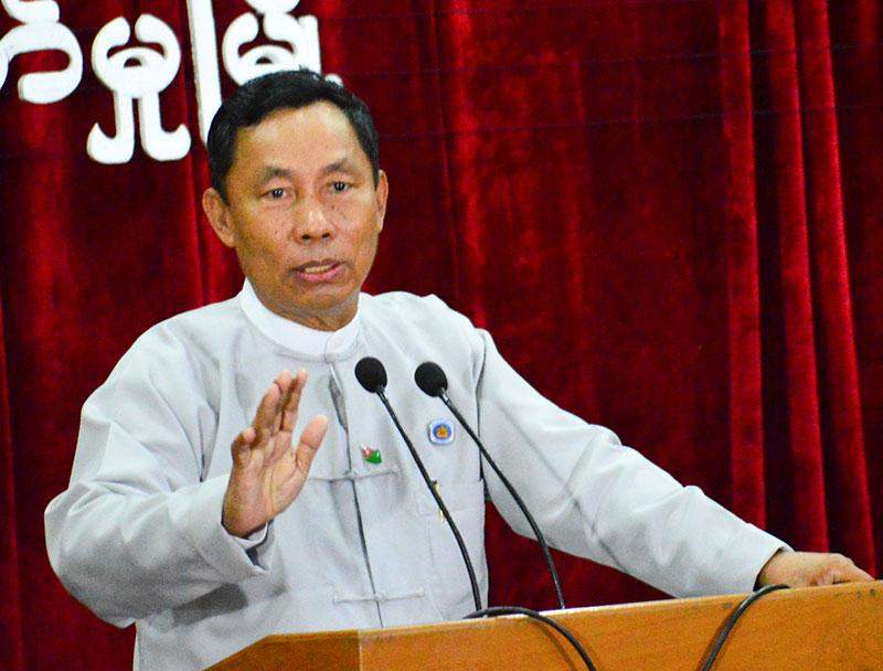 Speaker Thura  U Shwe Mann highlights national minimum wage in meeting with employees and employers at Hlinethaya Industrial Zone.
