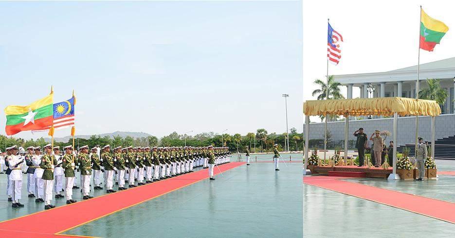 Vice-Senior General Soe Win and General Tan Sri Raja Mohamed Affandi bin Raja Mohamed  Noor, Chief of Army of Malaysia take salute of Guard of Honour.