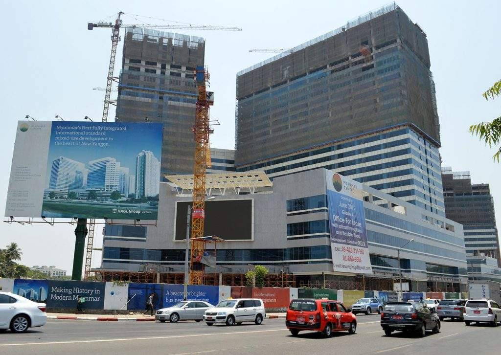 Construction in progress at the worksite of HAGL Myanmar Centre Phase I, for which a soft opening of office buildings and a shopping mall is scheduled for July.— Photo: Ye Myint