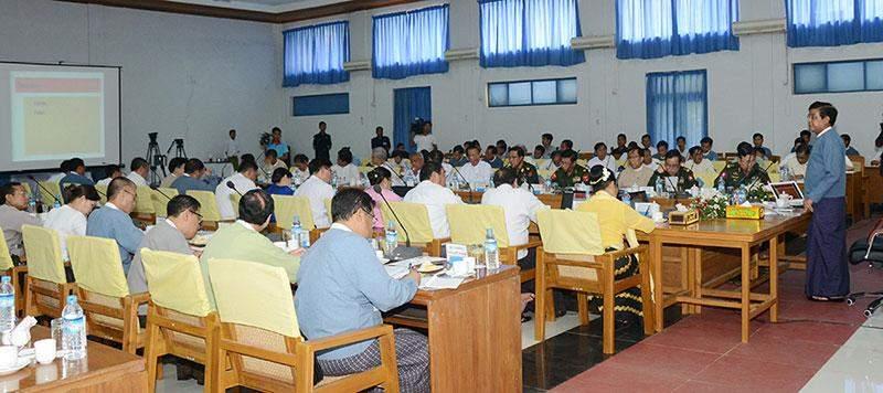 Vice President U Nyan Tun addresses meeting on disaster management strategies.—MNA