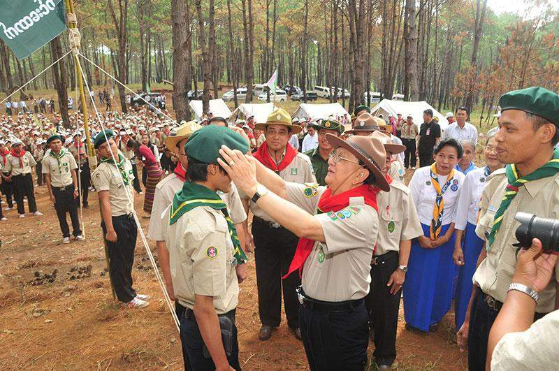 President U Thein Sein cordially meets with scout youths at PyinOoLwin Camp. IPRD