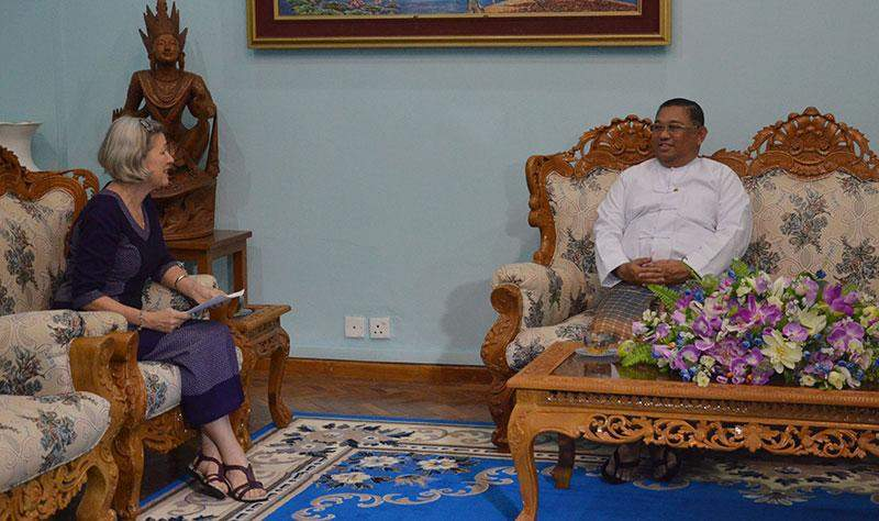 Union Minister U Wunna Maung Lwin receives Ms Janet E. Jackson, the United Nations Population Fund-UNFPA Representative  to Myanmar.—MNA