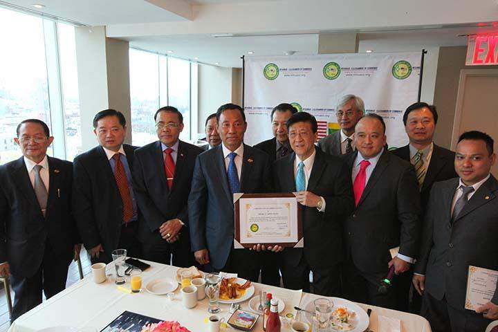 Speaker Thura U Shwe Mann seen with officials of Myanmar-US Chamber of Commerce (New York).