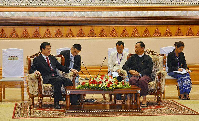 Speaker Thura  U Shwe Mann holds talks with State  Councillor and  Secretary General of China's State Council Mr Yang Jing.—MNA
