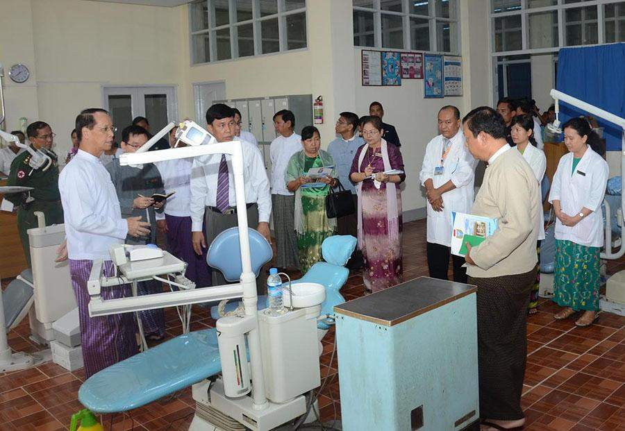 Vice President Dr Sai Mauk Kham visits Yangon University of Dental Medicine in Thingangyun  Township.