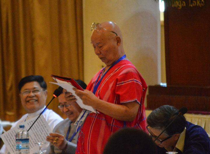 KNU Chairman Saw Mutu Sae Po addresses Peace and National  Reconciliation Forum in Yangon on Saturday. The forum is aimed at  starting preparations for holding rounds of political dialogue before the 2015 national poll.