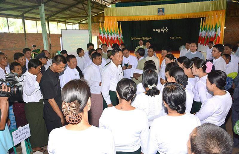 Pyithu Hluttaw  Speaker Thura  U Shwe Mann meets local people in Mone, Bago Region.