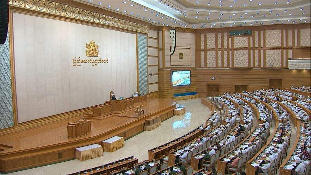 MPs of Pyidaungsu Hluttaw debate privatization of the Yeku broadcasting station.—MNA