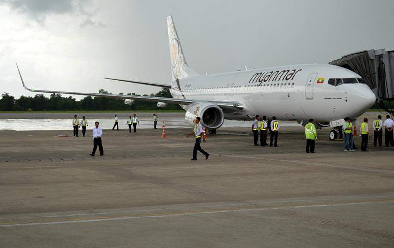 Myanmar National Airlines introduces its new arrival of Boeing 737 aircraft at Yangon International Airport on Monday. — Photo: Ye Myint