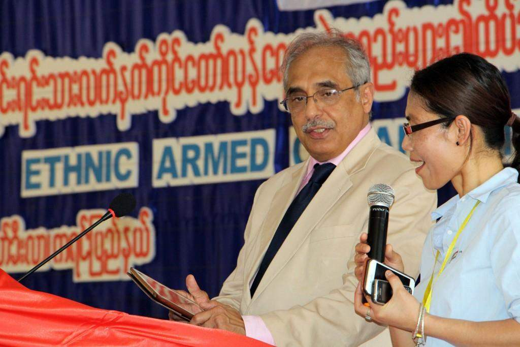 Mr. Vijay Nambiar, UNSG's special adviser on Myanmar, addresses opening of a conference of ethnic armed organizations in Law Khee Lar, Kayin State on Tuesday.