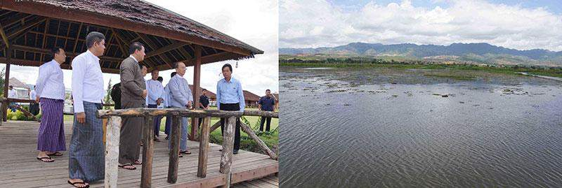 President U Thein Sein views progress of conservation at Inlay Lake in Nyaungshwe Township.—IPRD