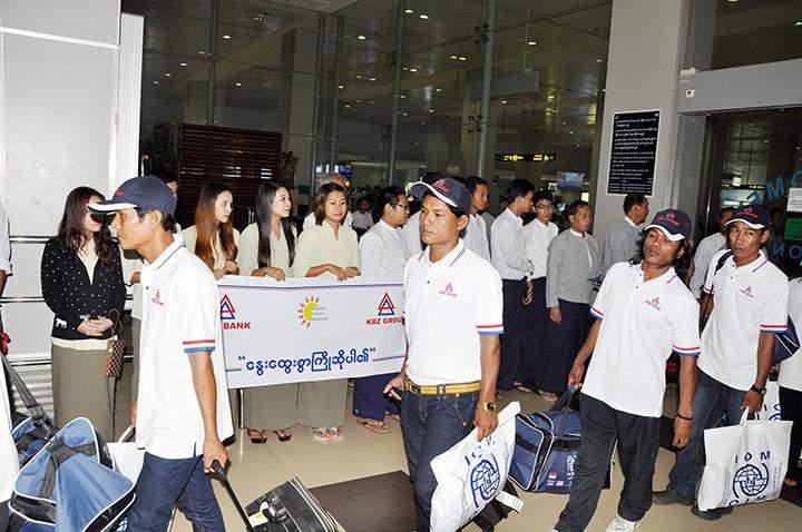 Myanmar fishermen back from Indonesia seen at Yangon  International Airport.