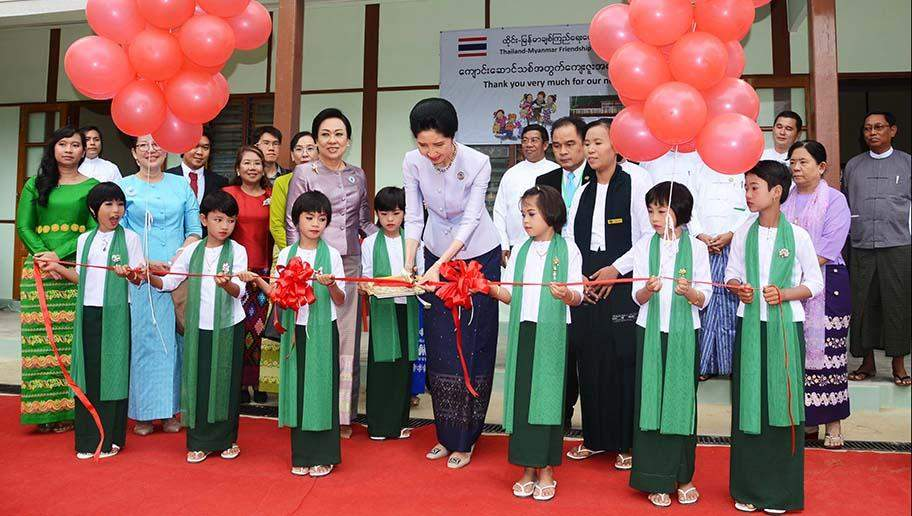 Mrs Naraporn Chan-o-cha, wife of the Thai Prime Minister and party open new school building at BEHS No 15 in Pyinmana Township.