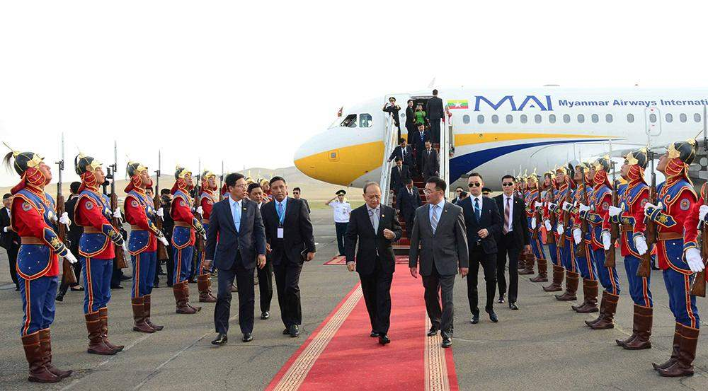 President U Thein Sein being welcomed by Guard of Honour at Ulan Bator Airport in Mongolia.—MNA