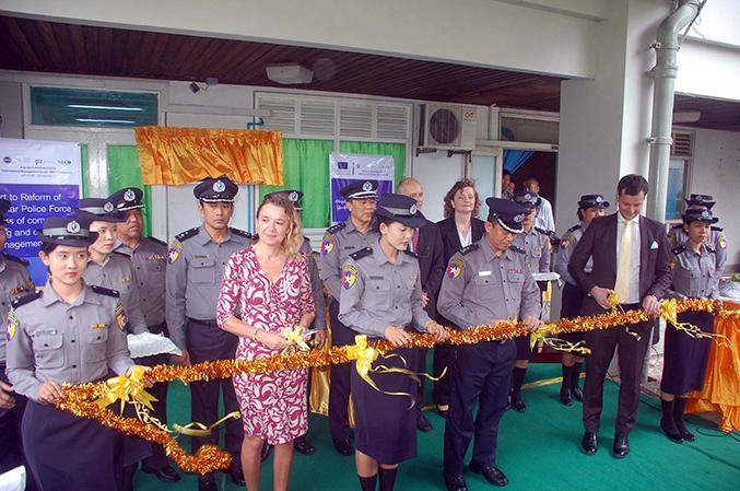 EU and police officials open Yangon Region Police Force's media  team office.