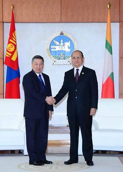 President U Thein Sein meets Speaker of Mongolian Parliament Mr Z Enkhbold.