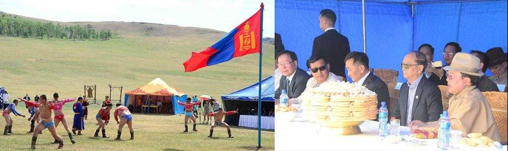 President U Thein Sein enjoys competitions of wrestling in Mani Naadam festival in Chinggisyn Khuree, Mongolia.