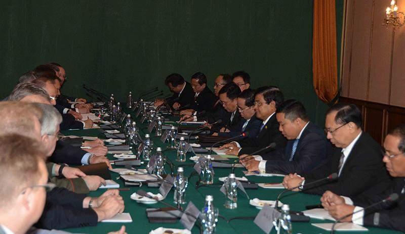 Vice President U Nyan Tun receives Secretary of Russian Security Council Mr. Nikolai P Patrushev and party.—MNA