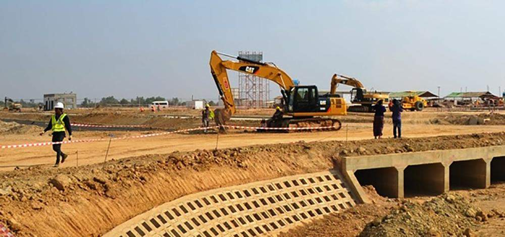 Heavy machinery  at work at  Thilawa Special  Economic Zone.