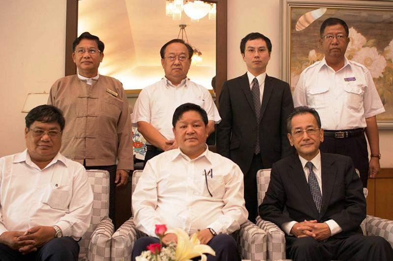 Japanese ambassador Mr Tateshi Higuchi, Managing Director U Thurein Win of Myanma Railways and officials seen in group photo.