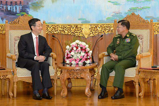 Senior General Min Aung Hlaing holds talks with Mr Sun Guoxiang, Special Envoy on Asia Affairs of Ministry of Foreign Affairs of China to Myanmar.