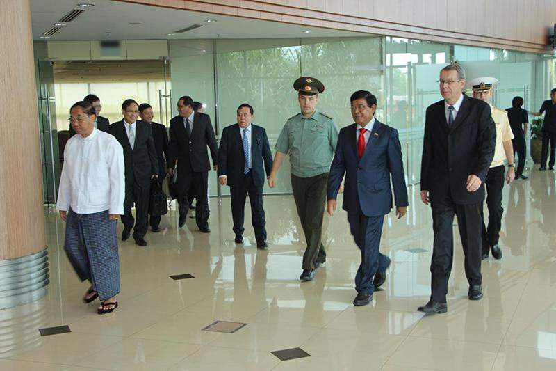 Vice President U Nyan Tun being seen off at Yangon International Airport by officials. MNA
