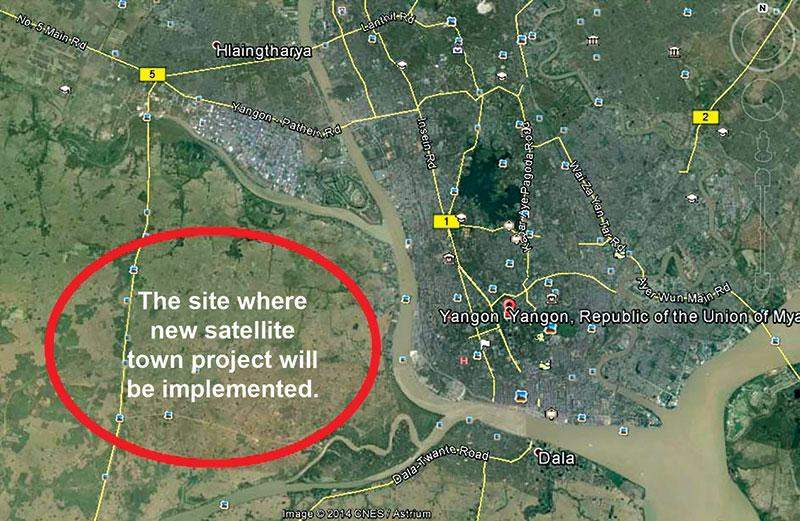 A map show a site for implementation of new satellite town of Yangon.