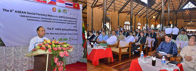 Union Minister for Environmental Conservation and Forestry U Win Tun speaking at 6th ASEAN Social Forestry Network (ASFN).