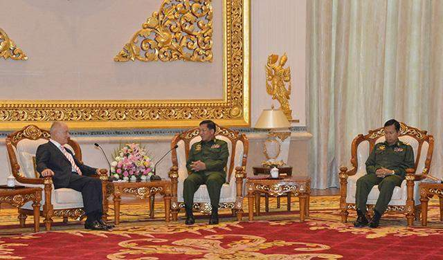 Senior General Min Aung Hlaing holds talks with German Ambassador to Myanmar Mr Christian-Ludwig Weber-Lortsch.