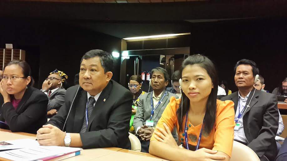 Employee's delegates including CTUM President U Maung Maung (middle) at 104th session of International Labour Conference in Switzerland. Photo: CTUM