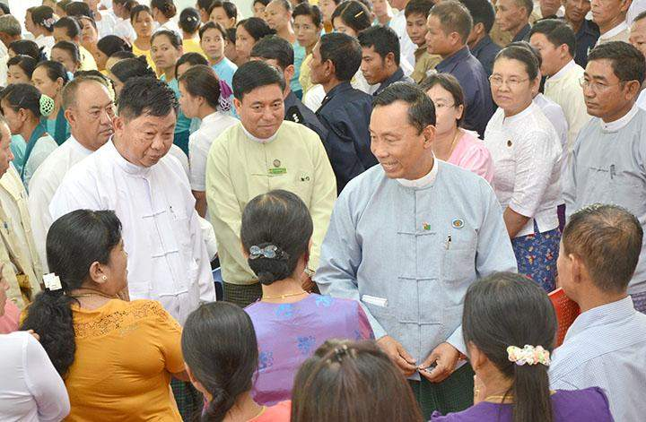 Pyithu Hluttaw  Speaker Thura  U Shwe Mann seen at prize-giving ceremony for outstanding matriculation students in Zeyathiri Township