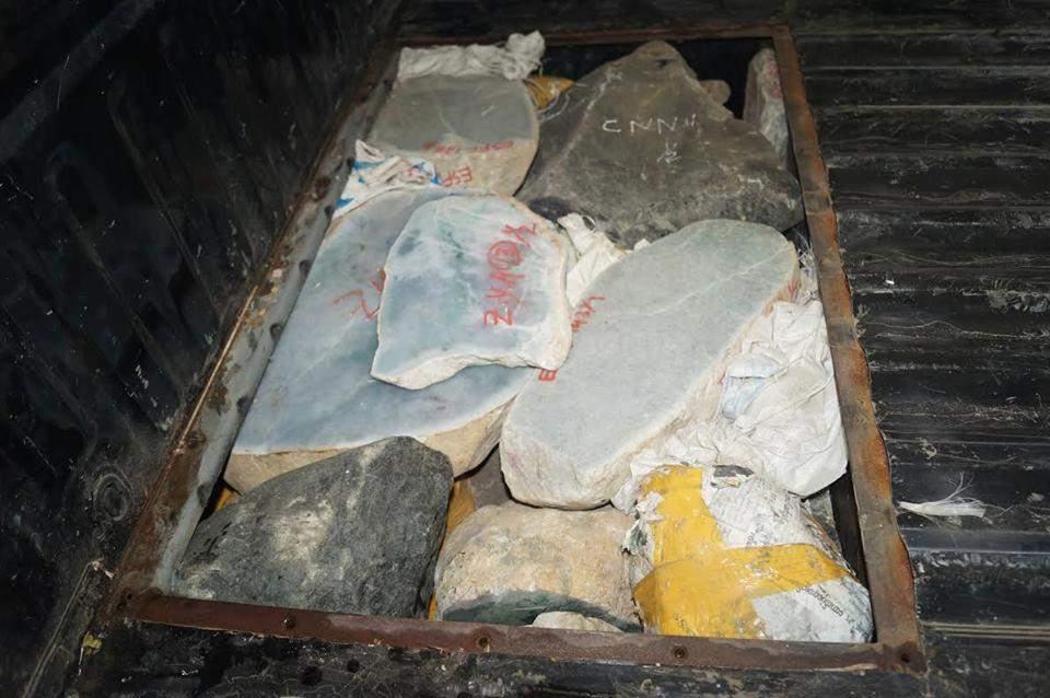 Photo shows seized jade stones.