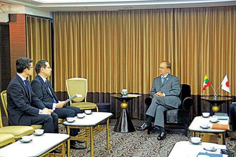 President U Thein Sein meets Tokyo Stock Exchange Group Inc President Mr Koichiro.