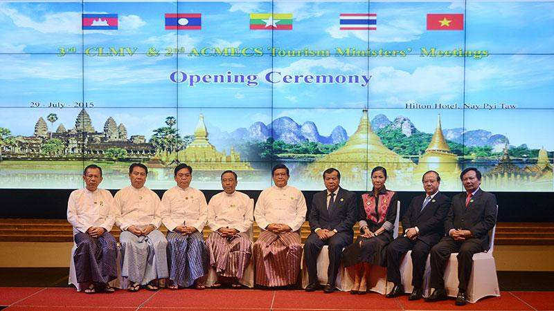 Vice President U Nyan Tun poses for documentary photo together with ministers of CLMV and ACMECS tourism ministers. MNA
