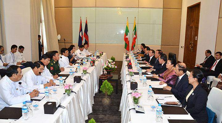 Vice President U Nyan Tun and Laotian  Vice President Mr Bounnhang Vorachith hold talks on bilateral cooperation.
