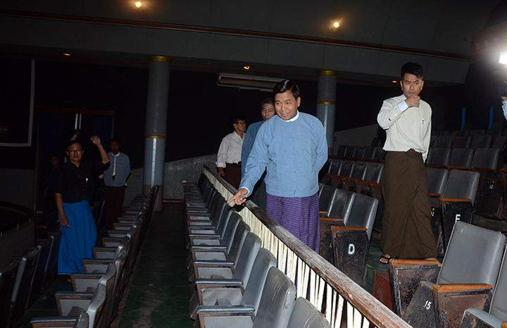 Deputy Minister for Information U Pike Htway inspects preparations to upgrade Waziya Cinema to Red Carpet Theatre.