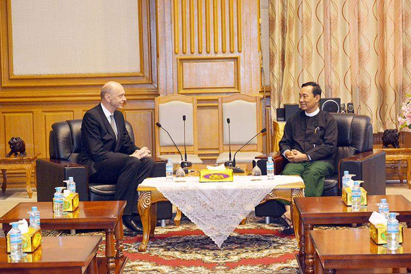 Speaker of Pyithu Hluttaw Thura U Shwe Mann holds talks with Czech Ambassador Mr Jaroslav Dolecek. mna