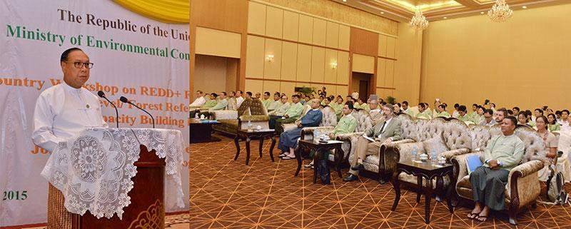 Union Minister for Environmental Conservation and Forestry U Win Tun delivers speech at  workshop on REDD+Roadmap Process.—MNA