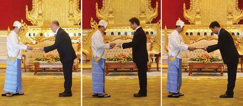 President U Thein Sein accepts credentials from Azerbaijan Ambassador Mr Qaley Aliyevich Allahverdiyev, Chilean Ambassador Mr Javier Andres BECKER-MARSHALL and Chinese Ambassador Mr. Hong Liang.—MNA